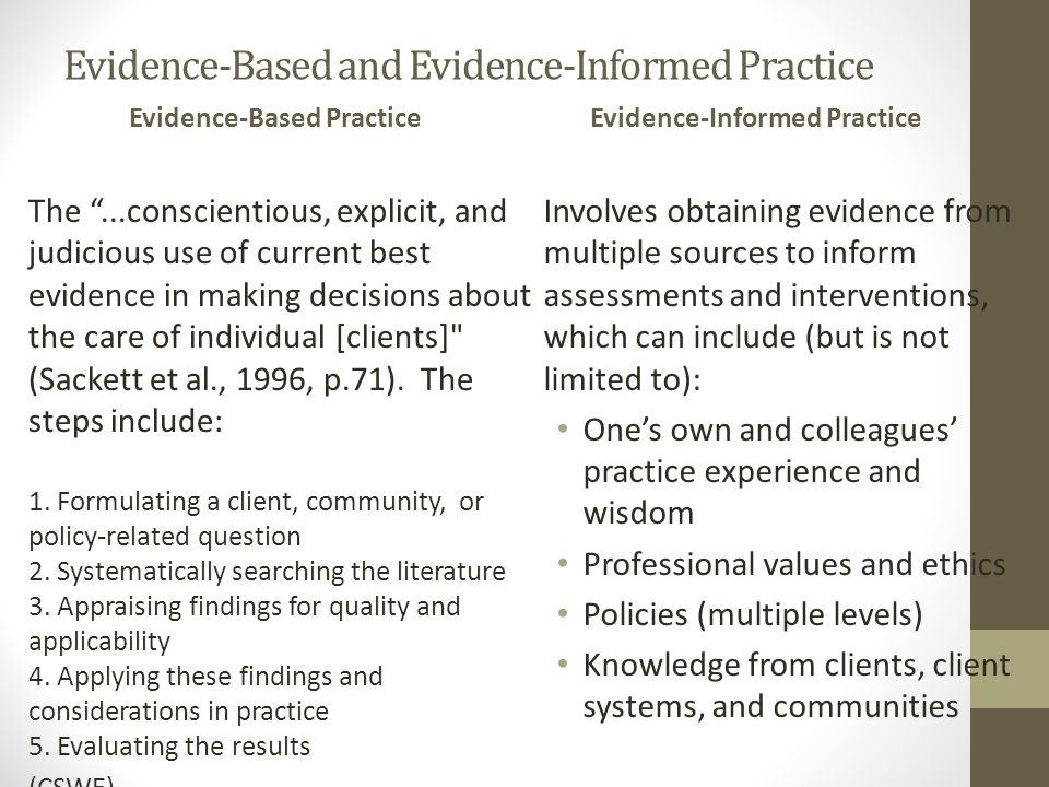 Evidence-Based and Evidence-Informed Practice