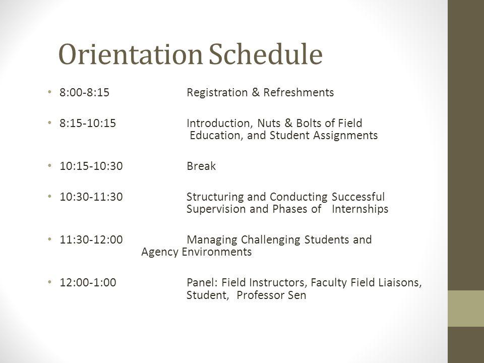 Orientation Schedule 8:00-8:15 Registration & Refreshments