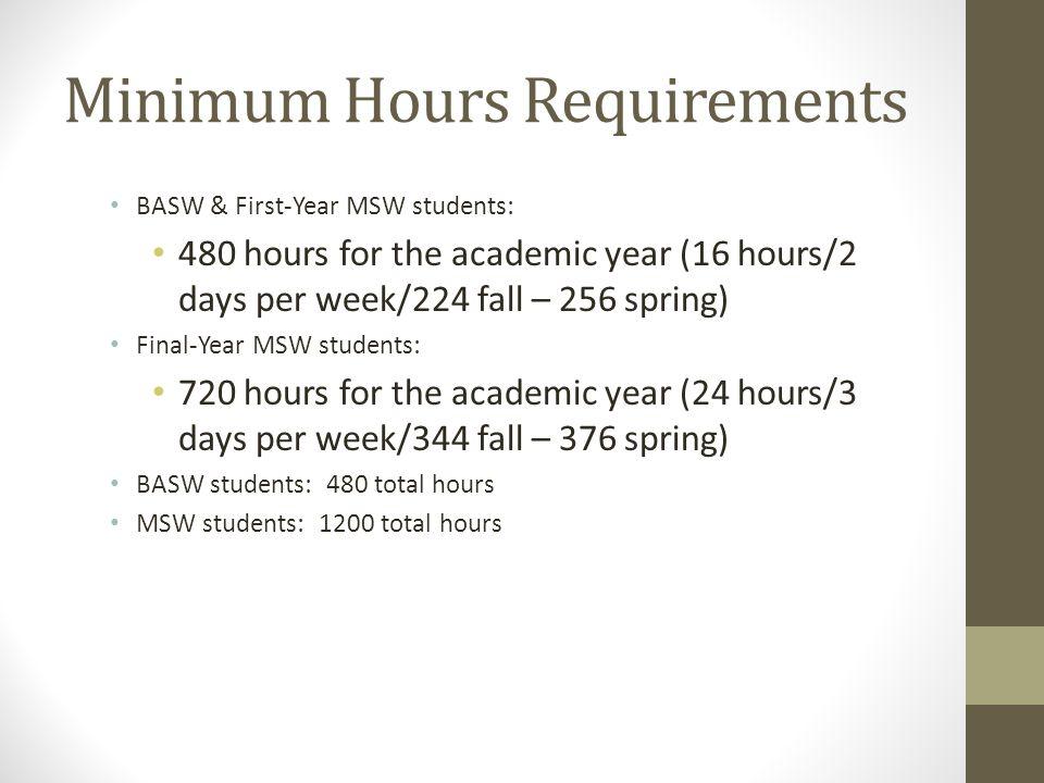 Minimum Hours Requirements