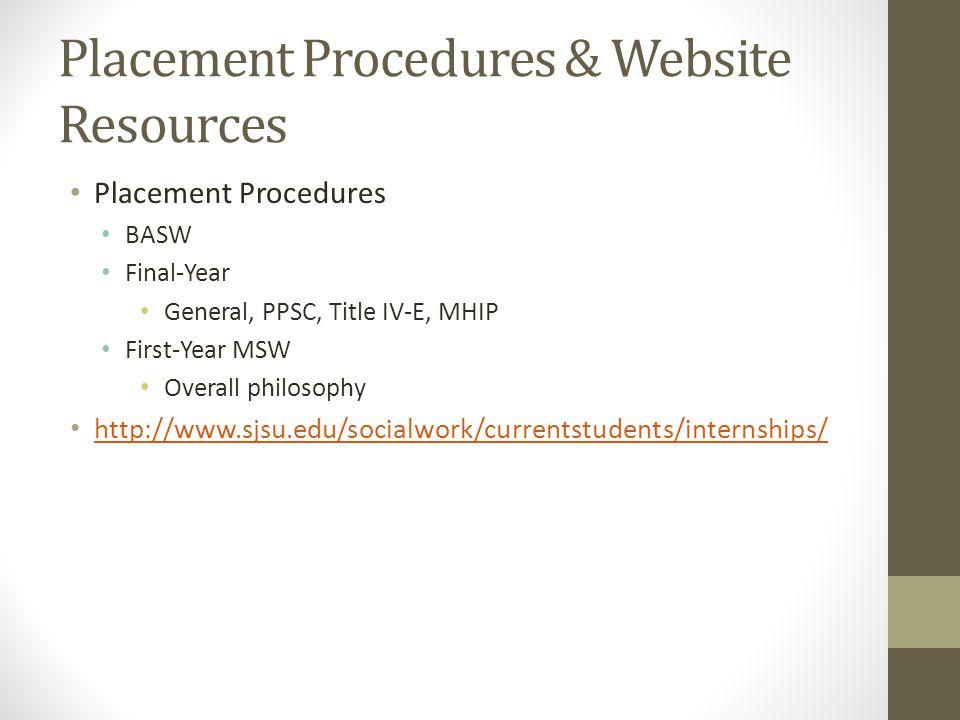 Placement Procedures & Website Resources