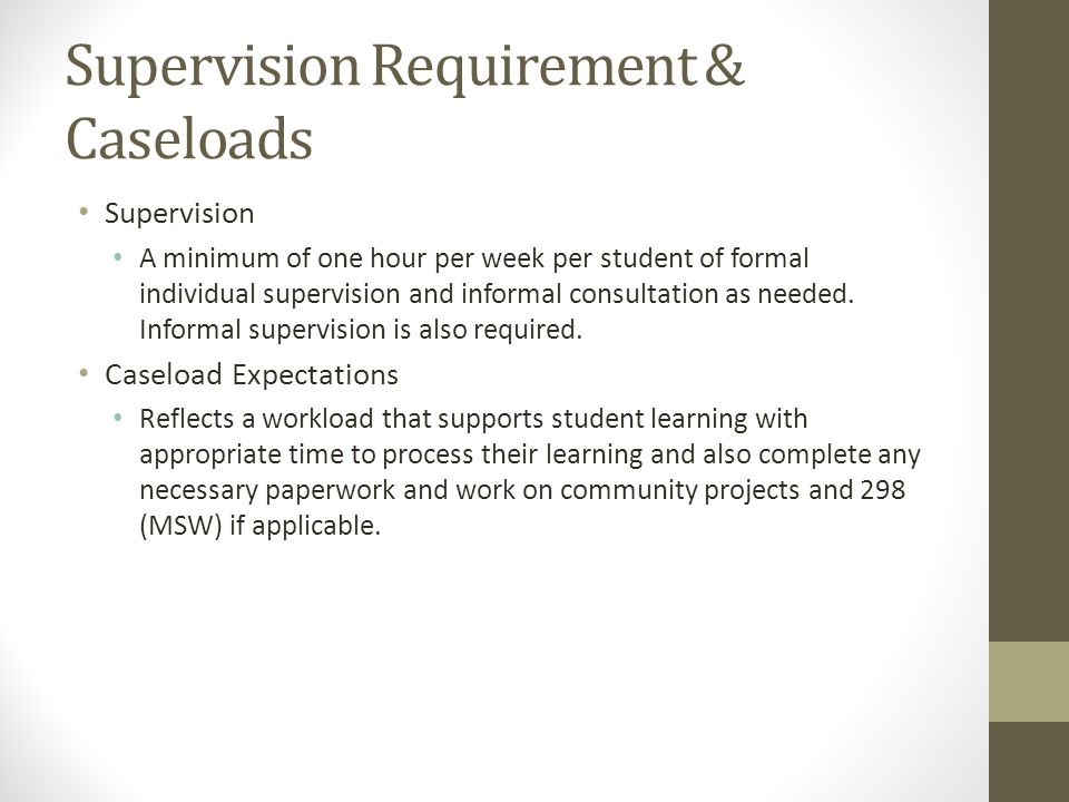 Supervision Requirement & Caseloads