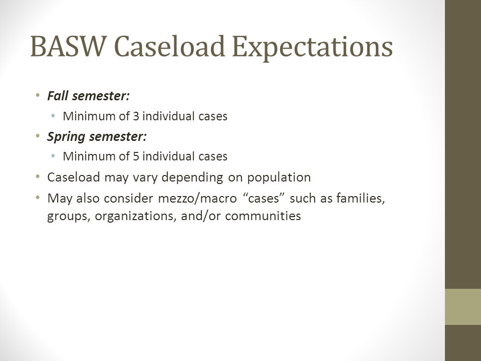 BASW Caseload Expectations