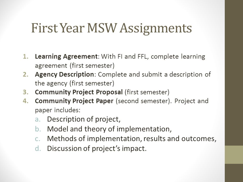 First Year MSW Assignments