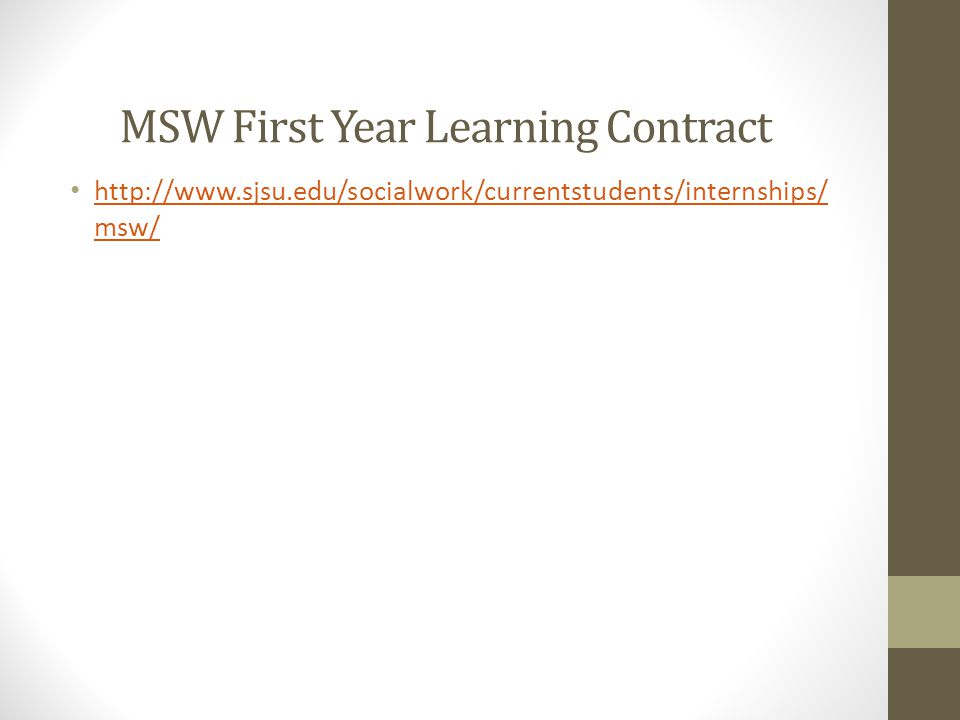 MSW First Year Learning Contract
