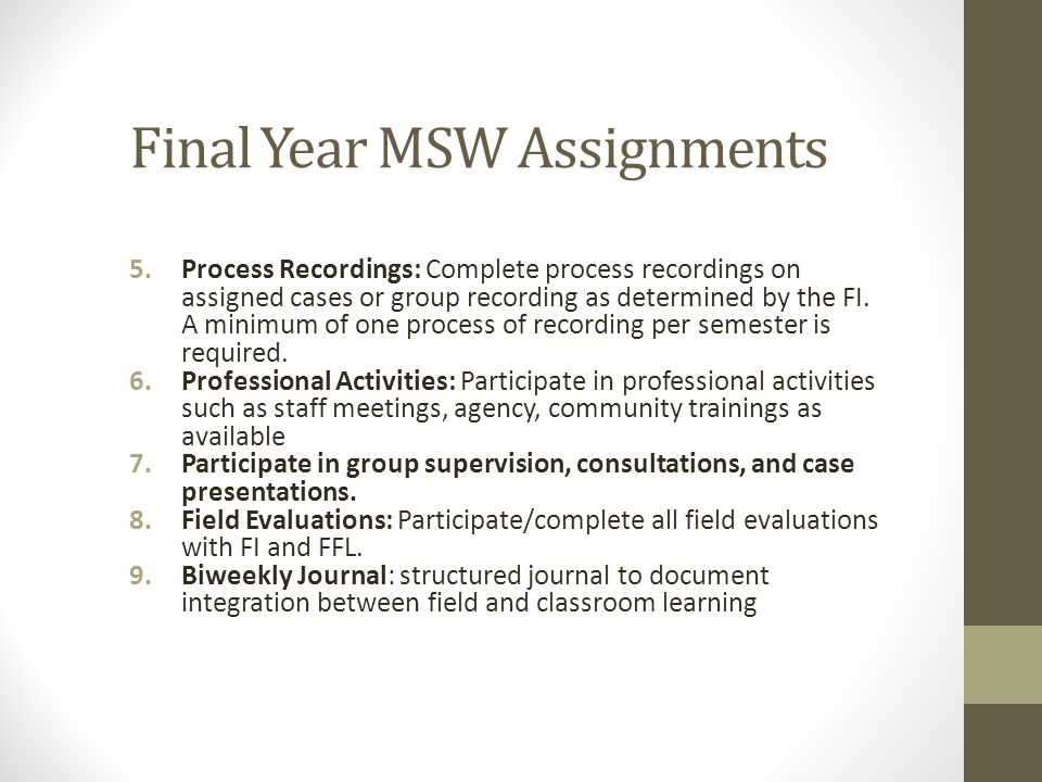 Final Year MSW Assignments