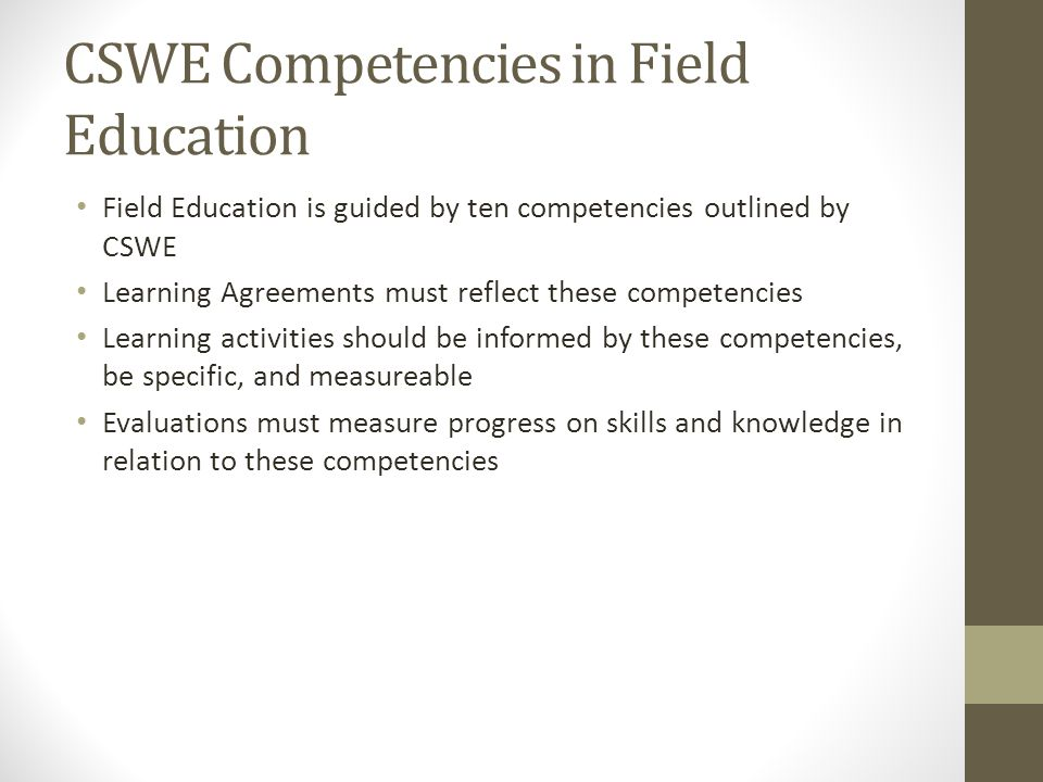 CSWE Competencies in Field Education