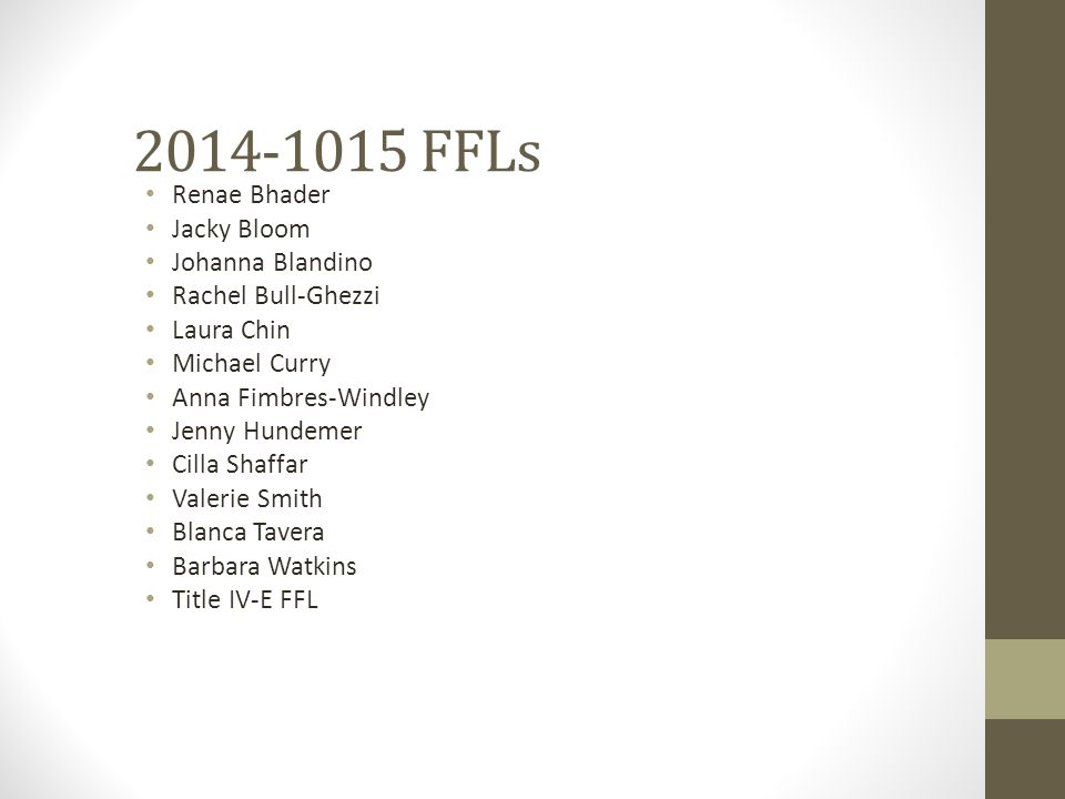 2014-1015 FFLs Renae Bhader Jacky Bloom Johanna Blandino