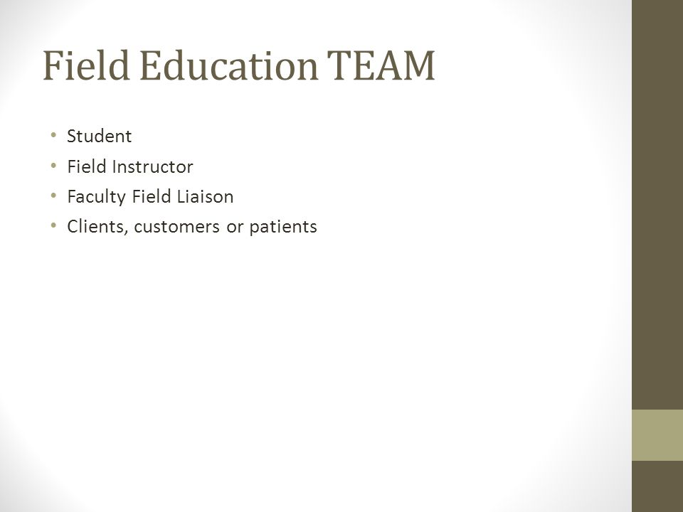 Field Education TEAM Student Field Instructor Faculty Field Liaison