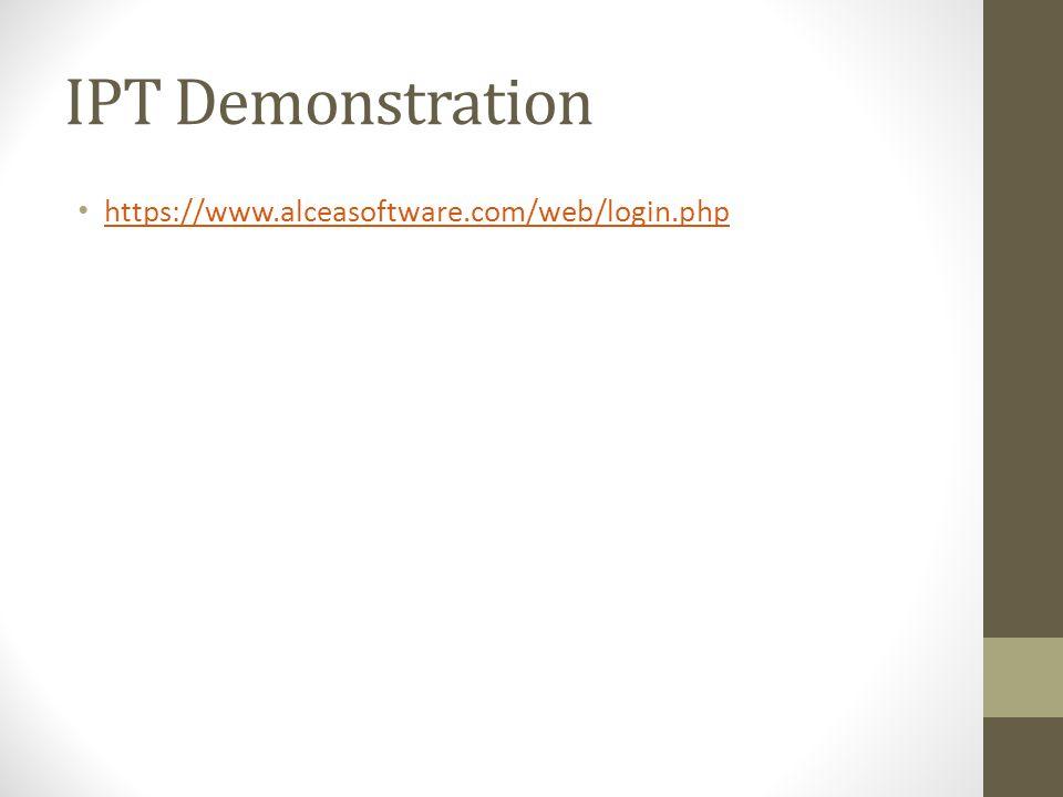 IPT Demonstration https://www.alceasoftware.com/web/login.php