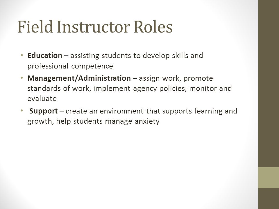 Field Instructor Roles