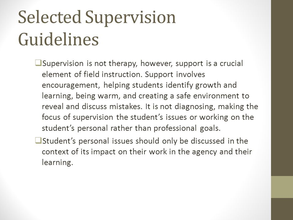 Selected Supervision Guidelines