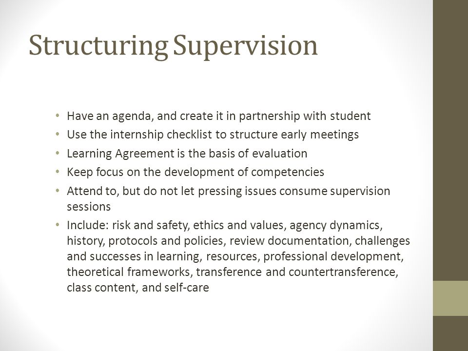 Structuring Supervision