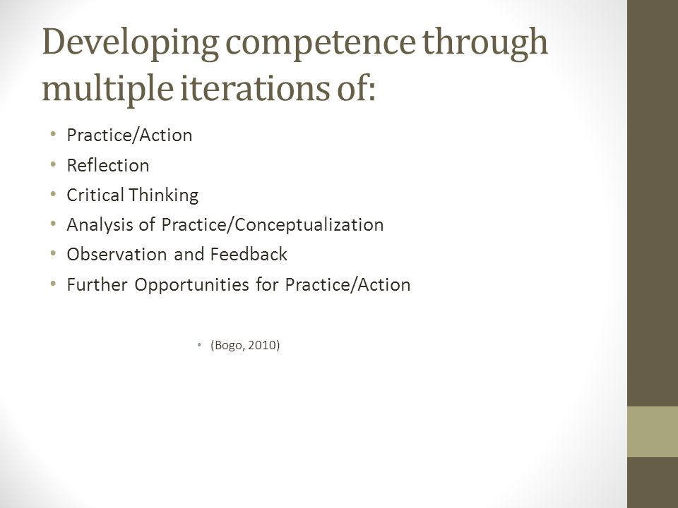 Developing competence through multiple iterations of:
