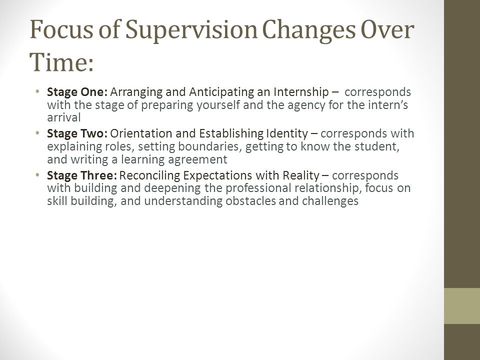 Focus of Supervision Changes Over Time: