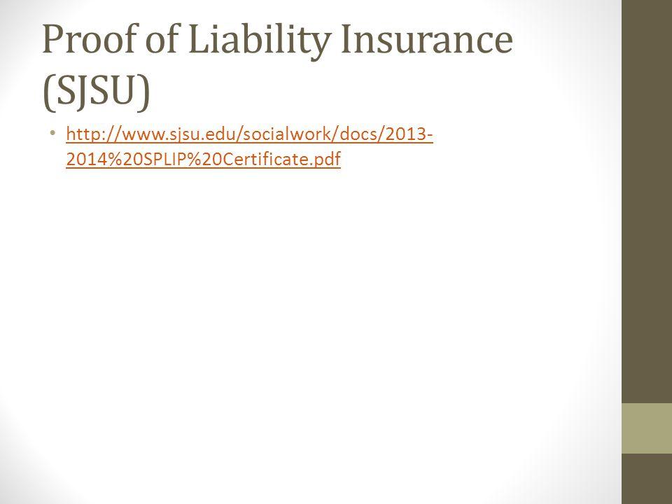 Proof of Liability Insurance (SJSU)