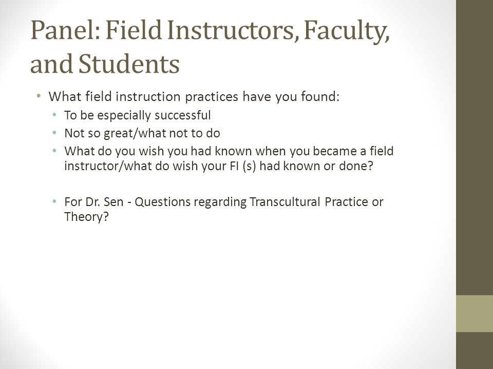 Panel: Field Instructors, Faculty, and Students
