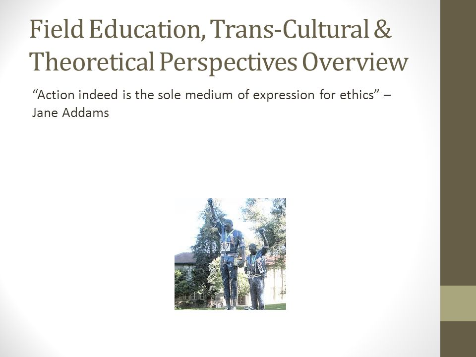 Field Education, Trans-Cultural & Theoretical Perspectives Overview
