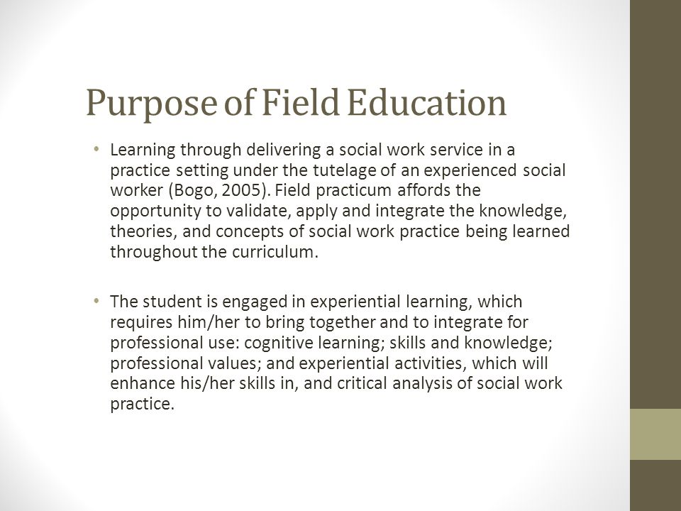 Purpose of Field Education