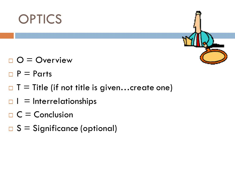 OPTICS O = Overview P = Parts