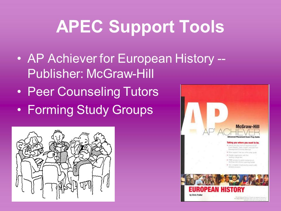 APEC Support ToolsAP Achiever for European History -- Publisher: McGraw-Hill. Peer Counseling Tutors.