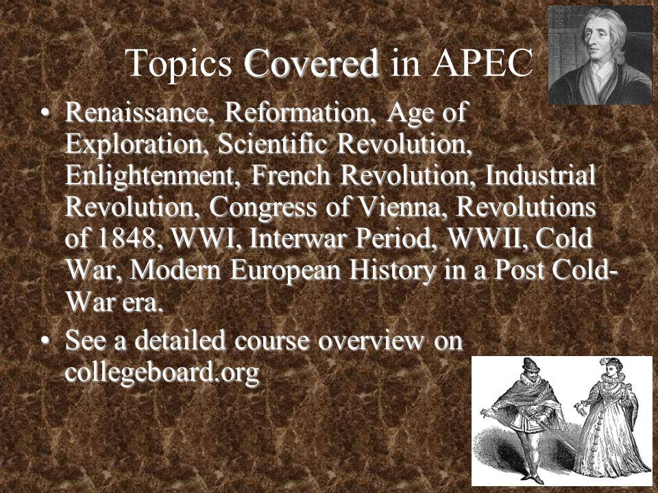 Topics Covered in APEC