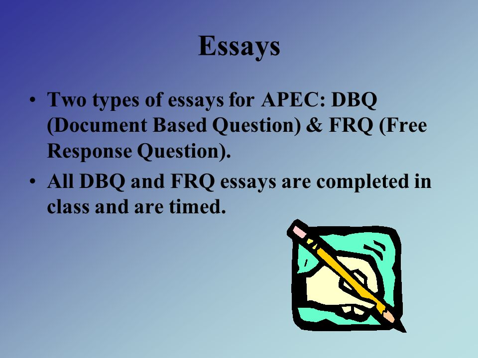 EssaysTwo types of essays for APEC: DBQ (Document Based Question) & FRQ (Free Response Question).