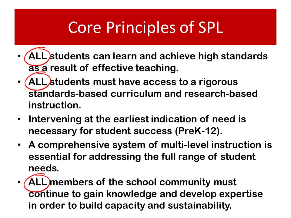 Core Principles of SPL ALL students can learn and achieve high standards as a result of effective teaching.