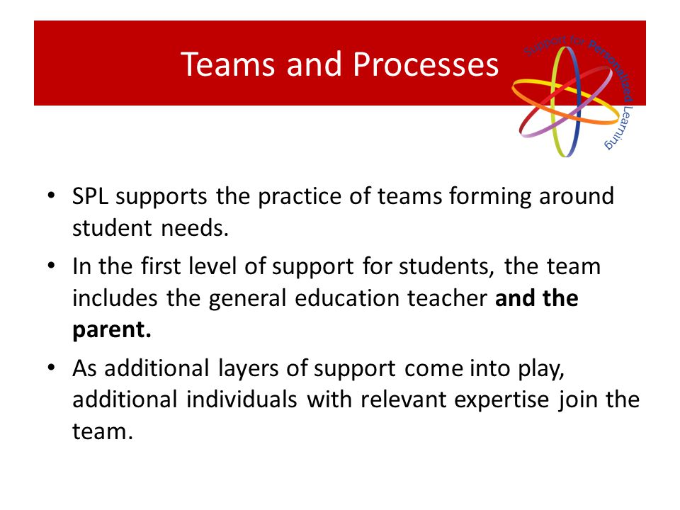 Teams and Processes SPL supports the practice of teams forming around student needs.