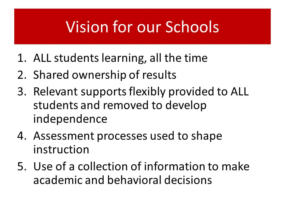 Vision for our Schools ALL students learning, all the time