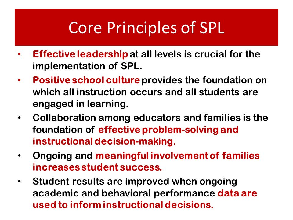 Core Principles of SPL Effective leadership at all levels is crucial for the implementation of SPL.