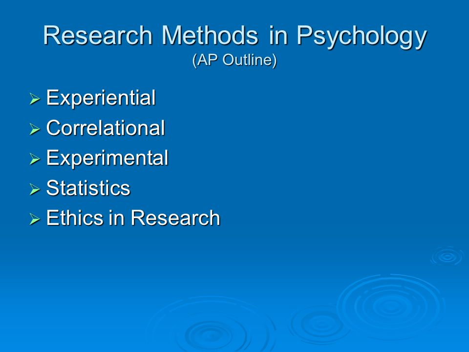 Research Methods in Psychology (AP Outline)