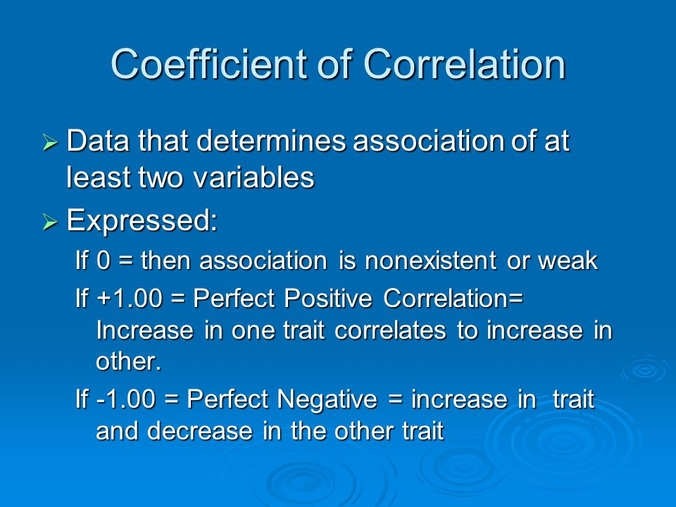 Coefficient of Correlation