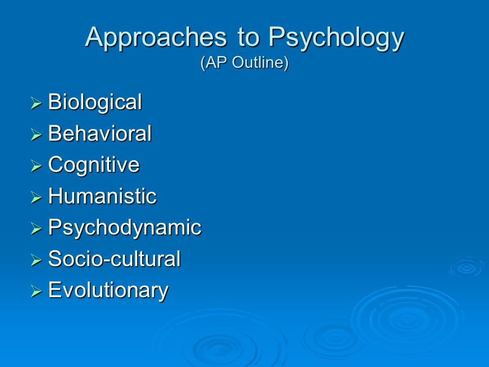 Approaches to Psychology (AP Outline)
