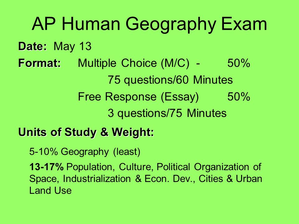 ap human geography exam study guide Flashcards - Quizlet