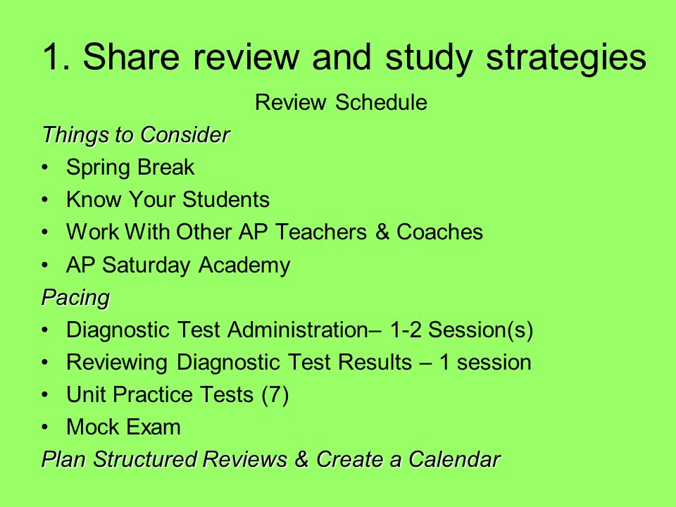 1. Share review and study strategies