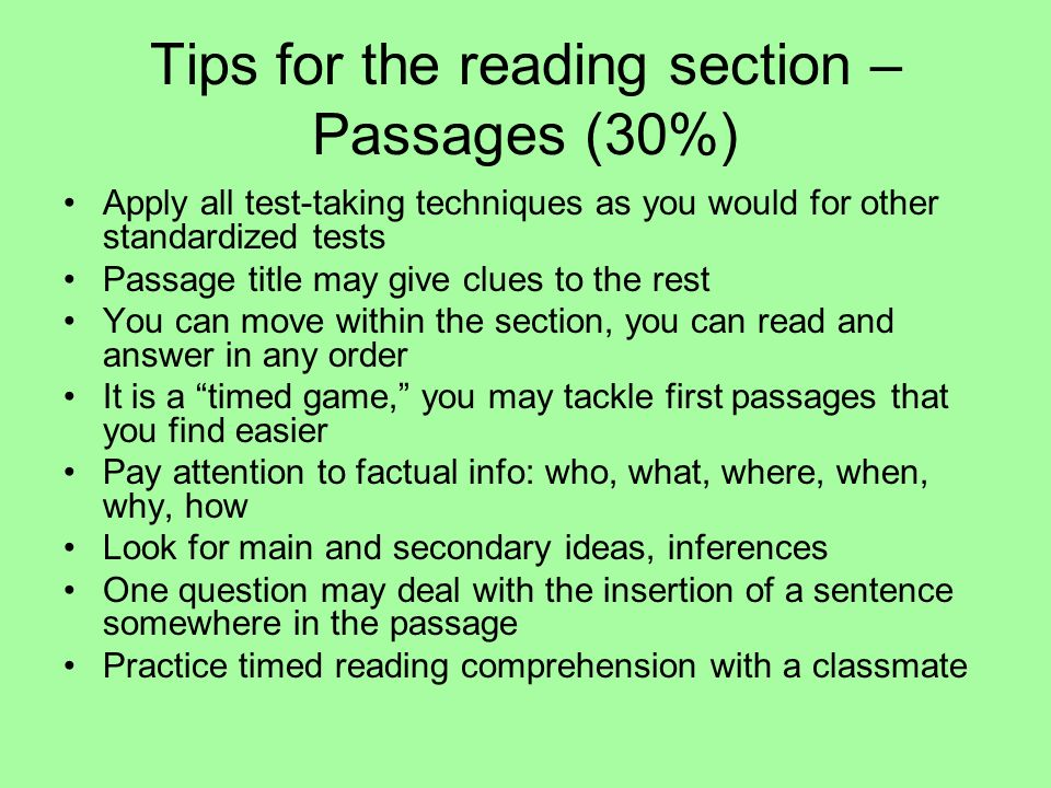 Tips for the reading section – Passages (30%)