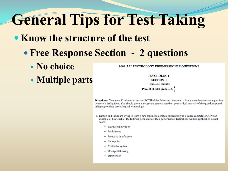General Tips for Test Taking