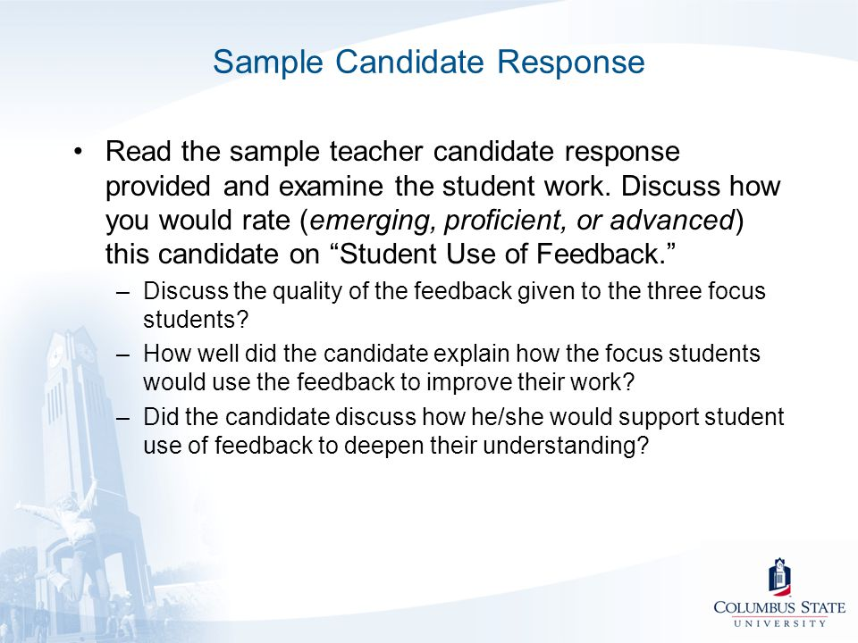 Sample Candidate Response