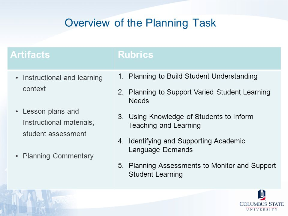 Overview of the Planning Task