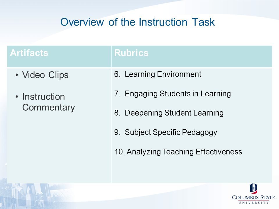 Overview of the Instruction Task