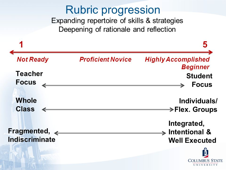 Rubric progression Expanding repertoire of skills & strategies Deepening of rationale and reflection