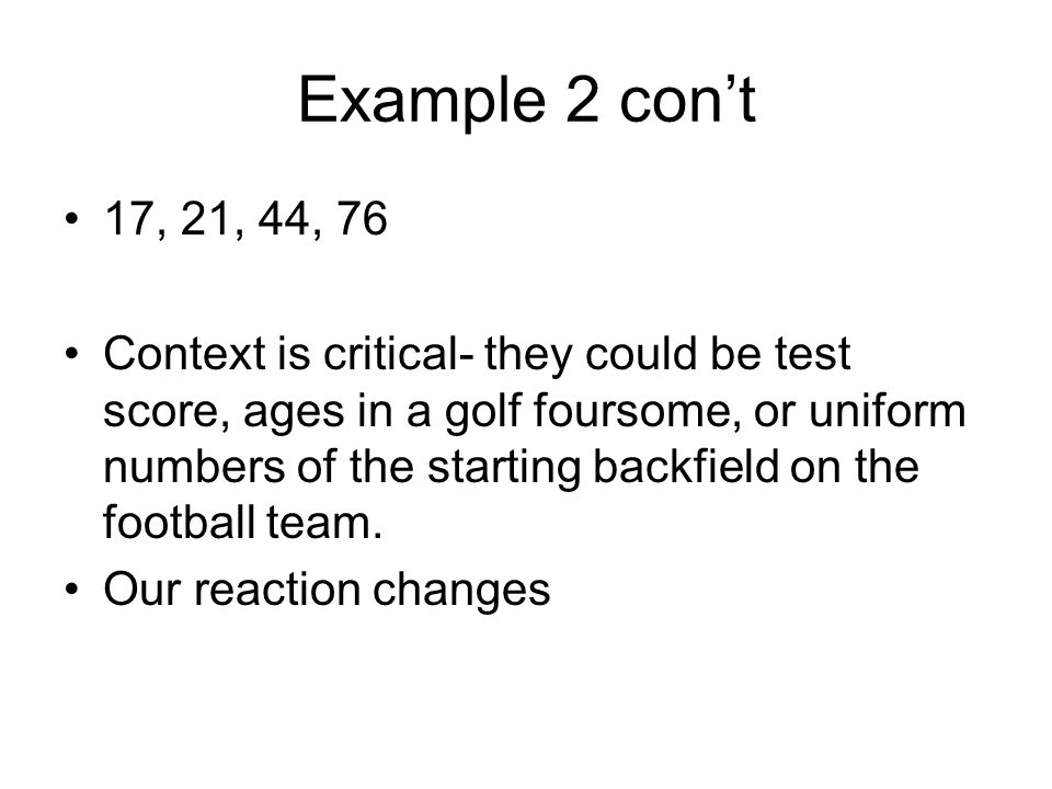 Example 2 con't 17, 21, 44, 76.