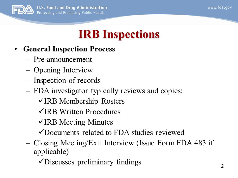 IRB Inspections General Inspection Process Pre-announcement