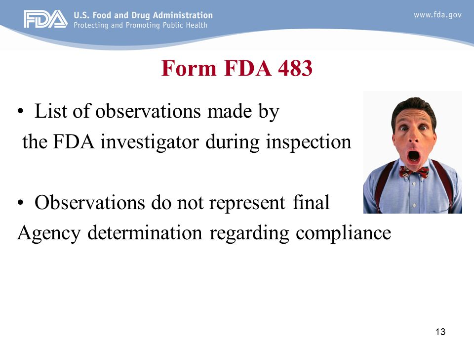 Form FDA 483 List of observations made by