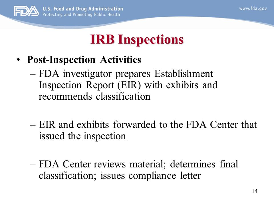 IRB Inspections Post-Inspection Activities