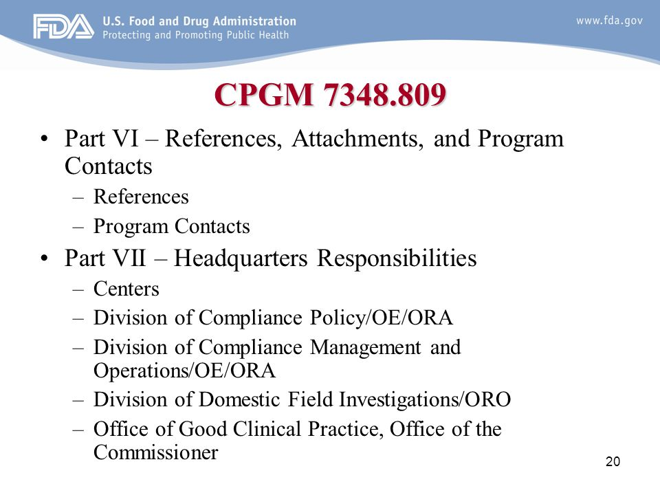 CPGM 7348.809 Part VI – References, Attachments, and Program Contacts
