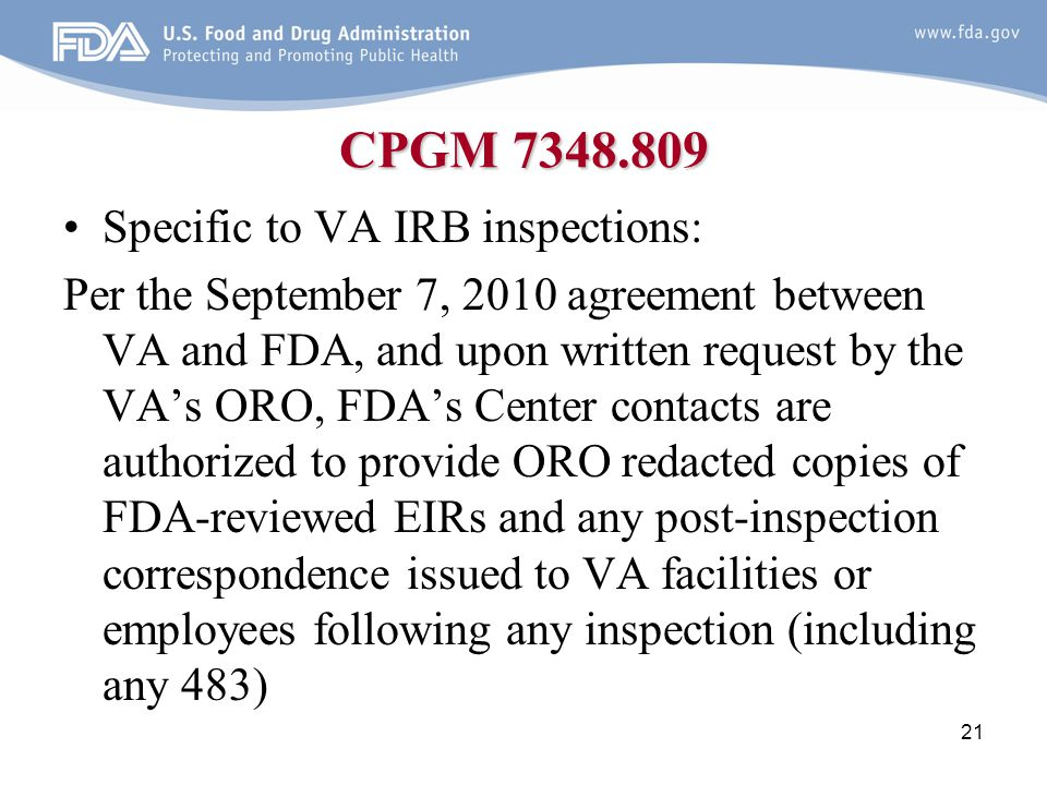 CPGM 7348.809 Specific to VA IRB inspections: