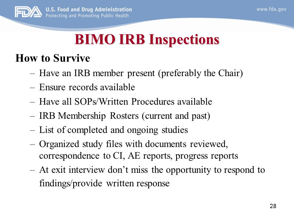 BIMO IRB Inspections How to Survive