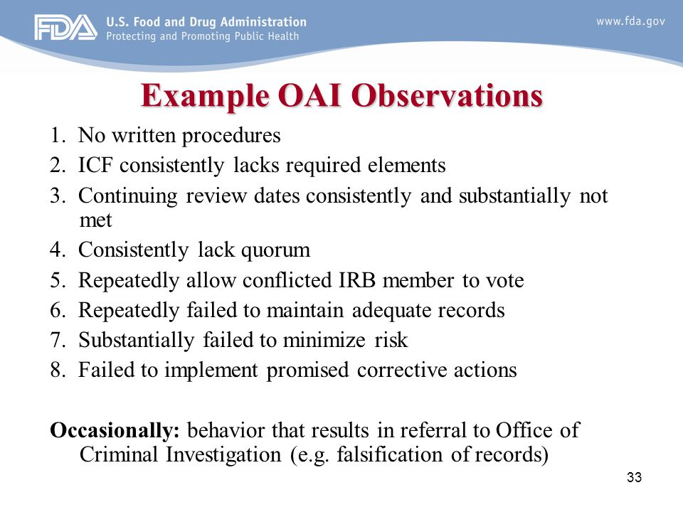 Example OAI Observations