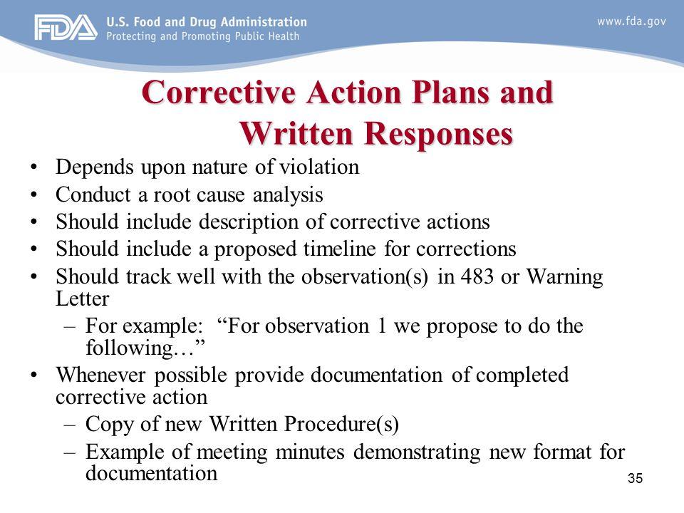 how to write a corrective action plan